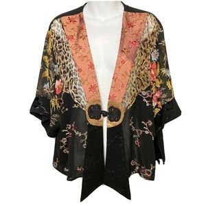 Spencer Alexis Kimono L Lace Black Leopard Asian